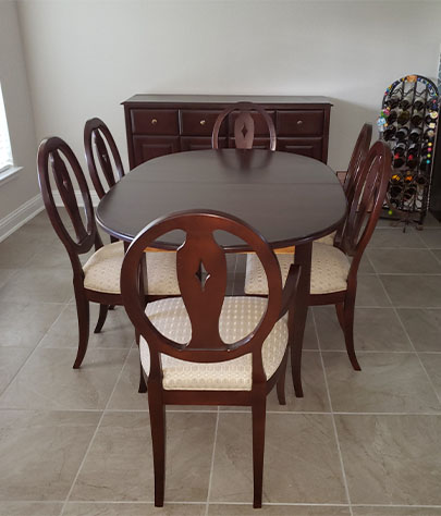 dining table refinishing by Elegant Upholstery