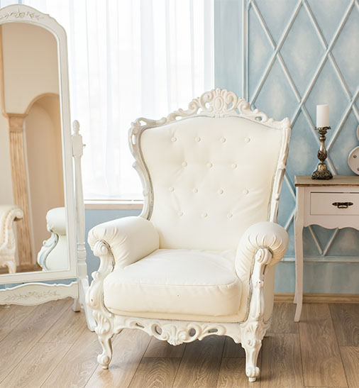 beautiful white tufted French Chair